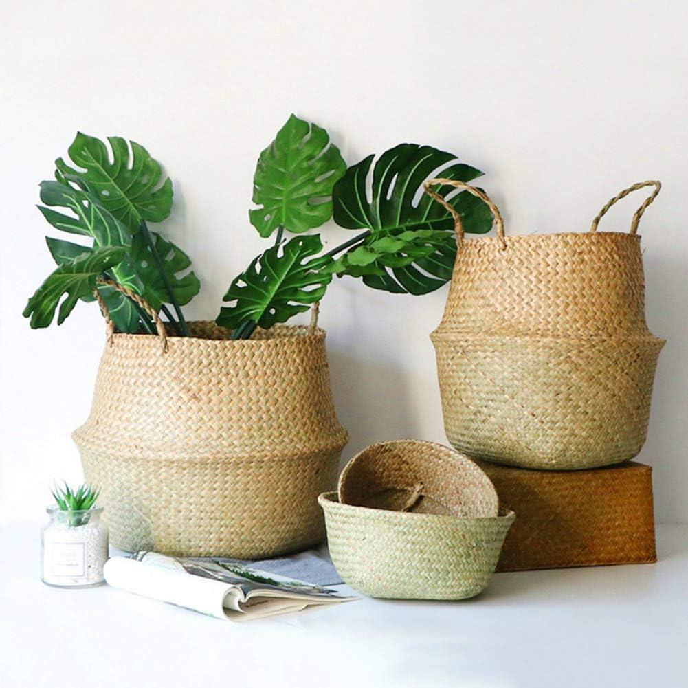Quanjucheer Home Storage organizzazione intrecciato a mano pieghevole per piante vaso di fiori naturali seagrass Woven basket