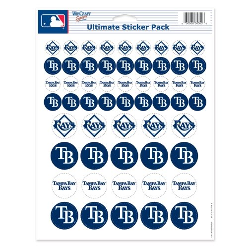 Wincraft MLB Tampa Bay Rays Vinyl Sticker Sheet, 8.5