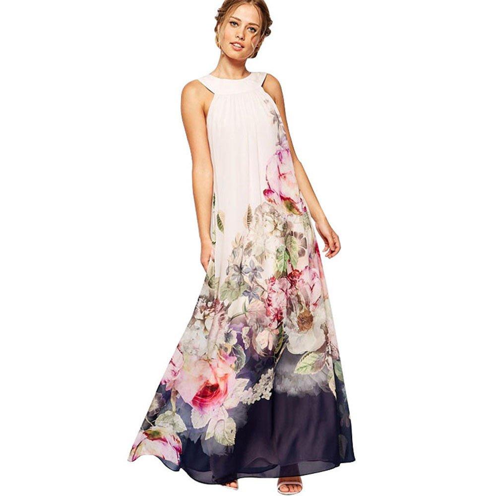 Bafaretk Fashion Summer Womens Casual Fit & Flare Floral Wash Painting Sleeveless Long Dress (2XL, White) by Bafaretk