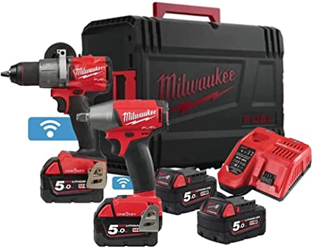 MILWAUKEE Pack Impact Drill One Key M18 - Impact Bolt Drill One Key M18-2 Baterías 5.0Ah - 1 Cargador 4933464595: Amazon.es: Bricolaje y herramientas