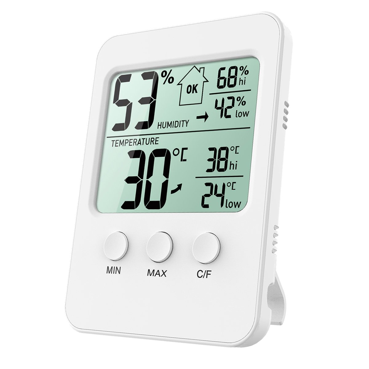 ORIA Digital Hygrometer Thermometer, Temperature Humidity Meter, Indoor Thermometer Humidity Monitor, LCD Screen with MIN/MAX Records, ℃/℉ Switch, for Warehouse, Home, Office, Greenhouse, Car ℃/℉ Switch 4335431373
