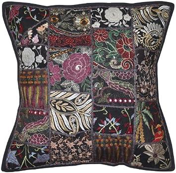 Amazon.com: Hermosa indio cojín bordado Patchwork algodón 16 ...