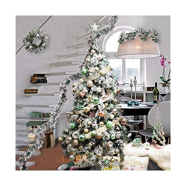 Valery Madelyn Palle di Natale 30 Pezzi 6cm Palline di Natale, Elegante Palazzo Verde Menta e Oro Rosa Infrangibile Ornamenti Palla di Natale Decorazione per Albero di Natale Decor 7 spesavip
