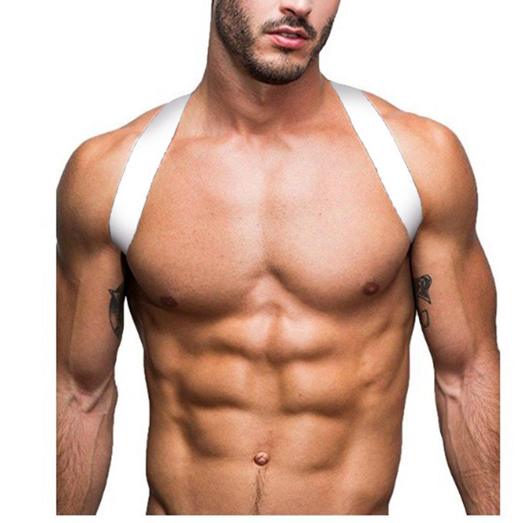 CHICTRY Men Spandex X Shape Chest Shoulder Fancy Belt Clubwear Costume