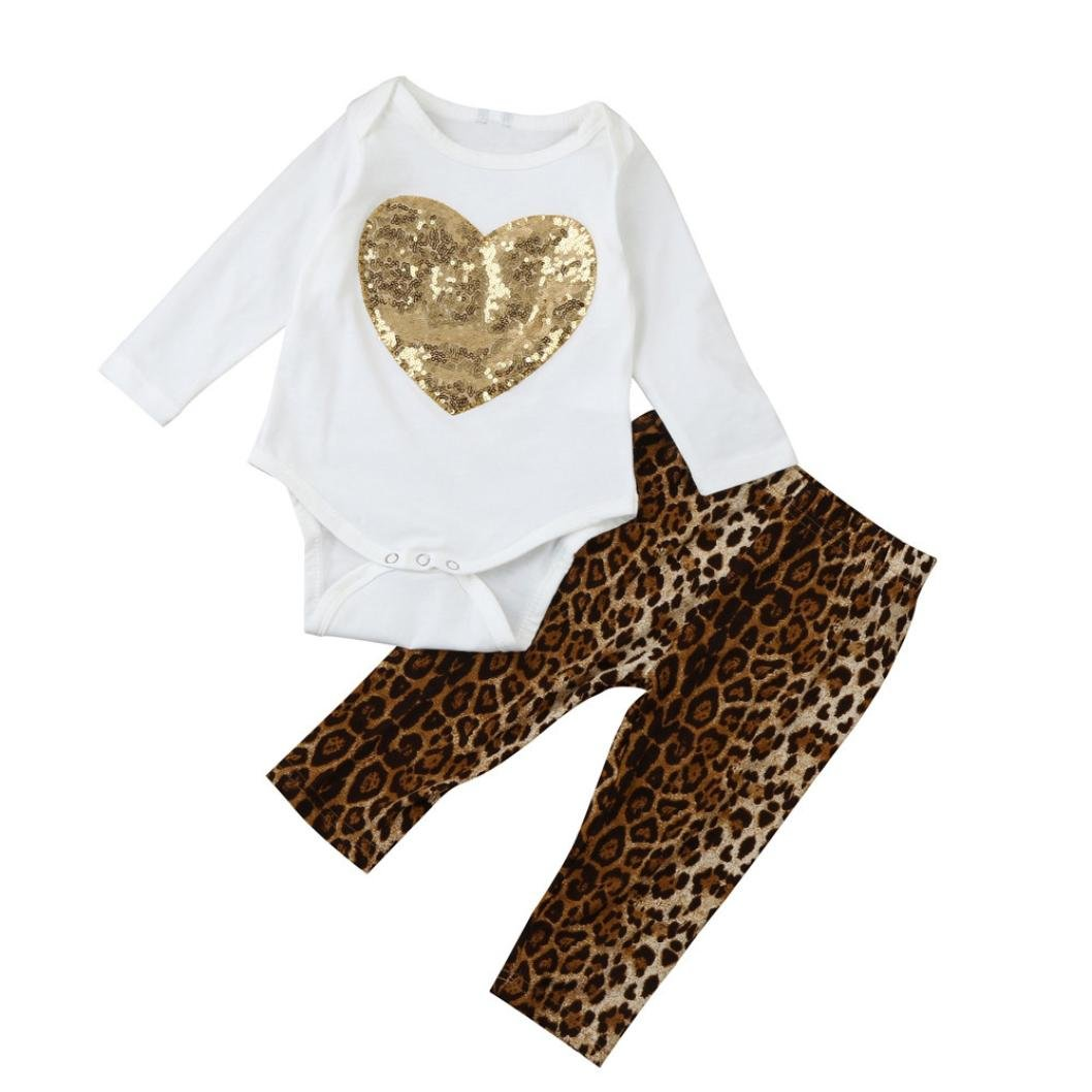 SHOBDW Girls Clothing Sets, Newborn Infant Baby Girl Fashion Sequins Heart Romper Tops + Leopard Pants Outfits Set SHOBDW-05
