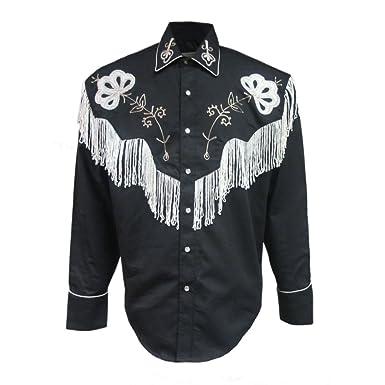 24b9ee80 Rockmount Mens Black Fringe Vintage Embroidered Western Cowboy Shirt ...