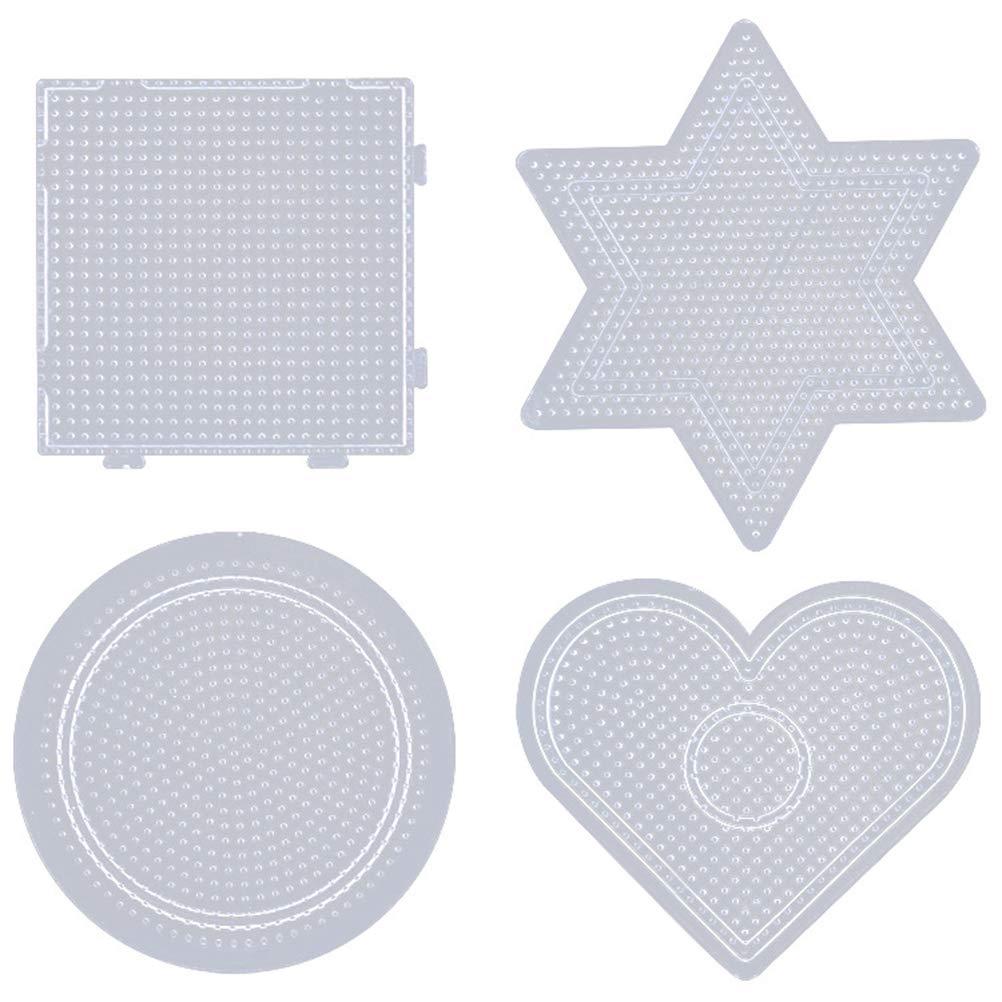 Healifty 2.6mm Fuse Beads Boards Tableros de plástico Transparentes DIY Herramienta educativa para niños Niños Craft Beads 4 Piezas