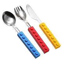 OUNONA Cubiertos Conjunto Cuchara Tenedor y Cuchillo Utensilios de Acero Inoxidable para Niños 3pcs