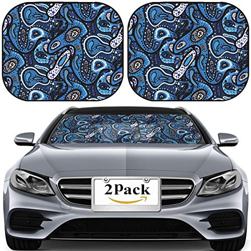 MSD Car Sun Shade for Windshield Universal Fit 2 Pack Sunshade, Block Sun Glare, UV and Heat, Protect Car Interior, Image ID: 21772933 Blue Seamless Pattern of Small Spots dots ()