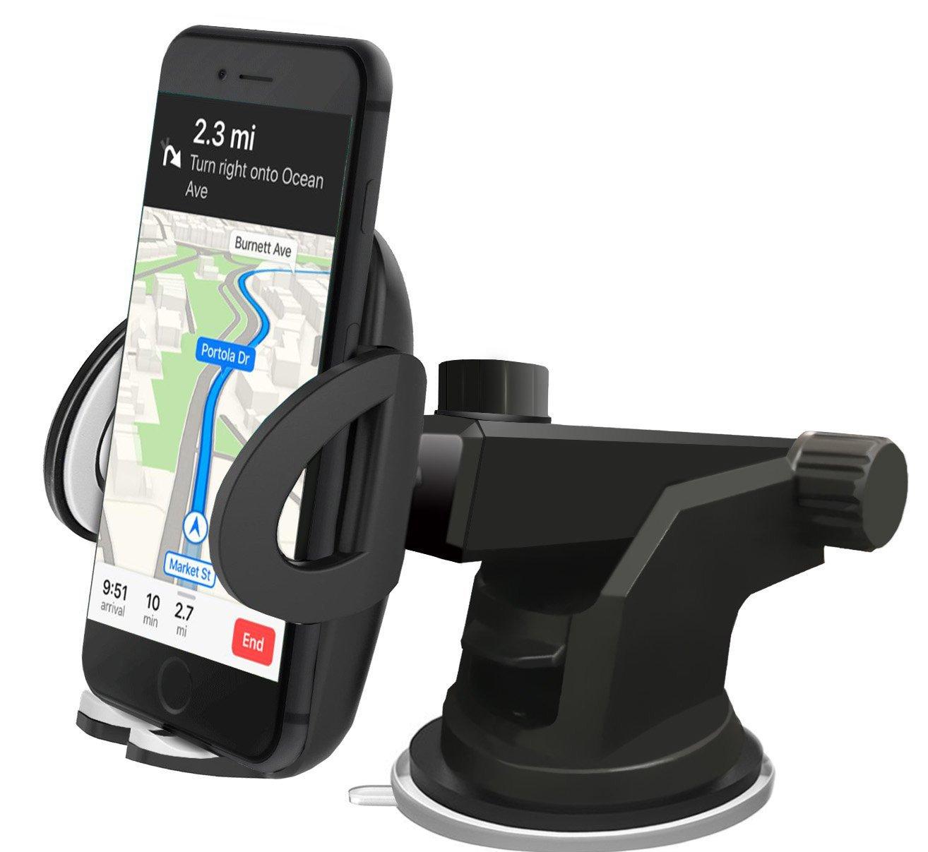 [Super Fest] iAmotus Handyhalterung Auto 360 °Rotatable kfz handy halterung mit Gel-Saugnapf und Einstellbarer Teleskoparm Unterstützung for Galaxy S8 S7 edge S6 Edge iPhone X 8 7 6s 6 plus Smartphones Universal [Multifunktions]