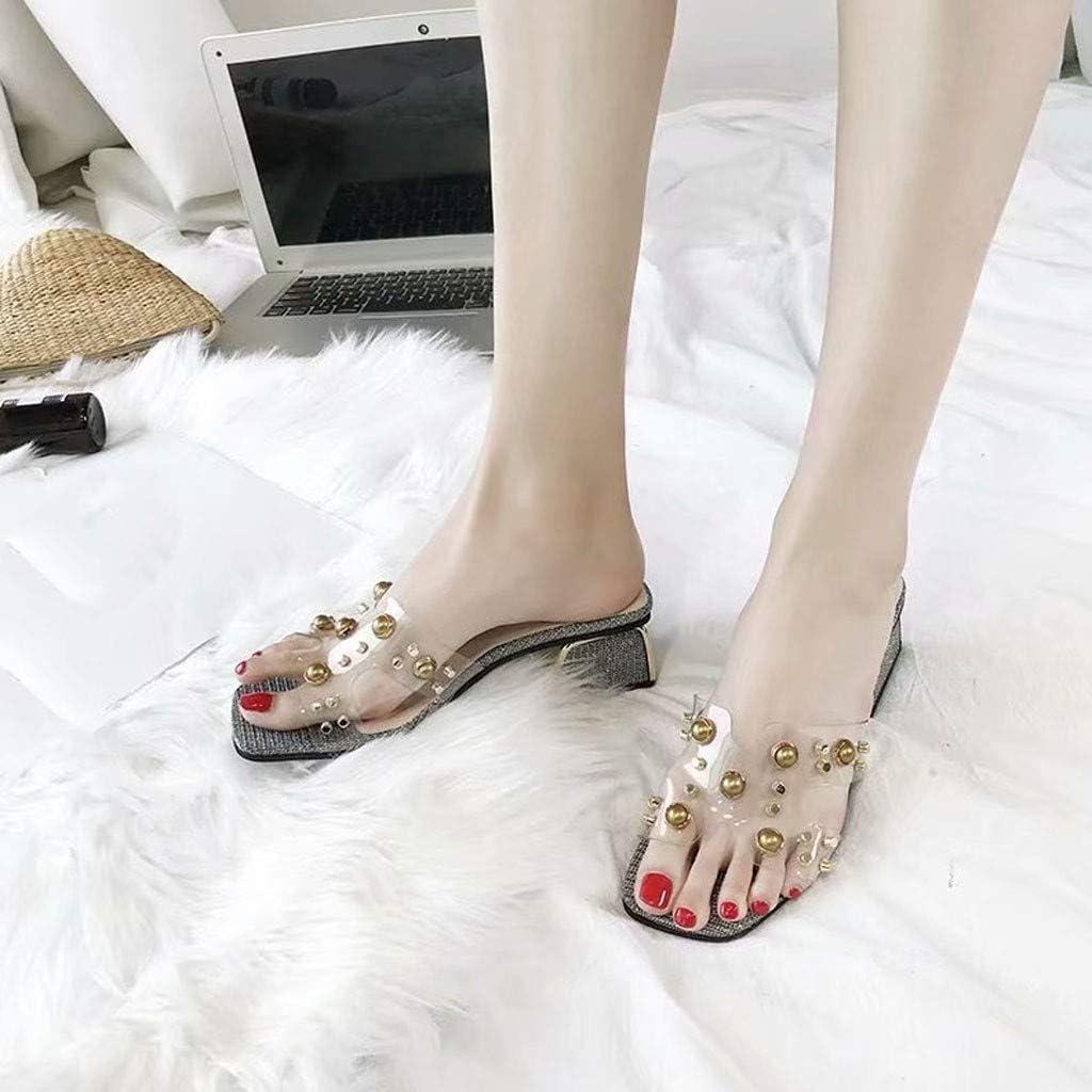 Women Rhinestones Flip-Flops Clearance Sale NDGDA Ladies Transparent Peep-Toe Thick Office Sandals Shoes