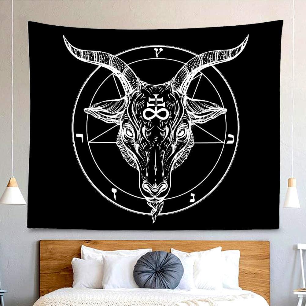 Demon Satanic Goat Tapestry Black Symbol Divination Wall Hanging Decor Indian Mandala Bohemian Hippie Trippy Large Tapestry for Bedroom Living Room Dorm(80x60 Inch)