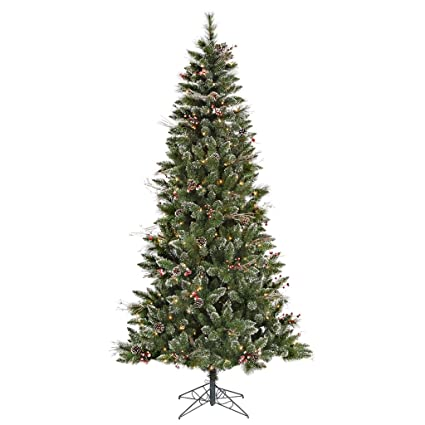 Vickerman Pre-lit Snow-Tipped Pine/Berry Tree with 250 Clear Mini Lights - Amazon.com: Vickerman Pre-lit Snow-Tipped Pine/Berry Tree With 250