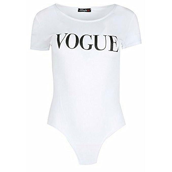 Classy Fashion Camiseta de Manga Corta con Estampado de Moda para Mujer de Las señoras Jersey Casquillo elástico de Manga Corta Slim Fit Top Leotardo: ...