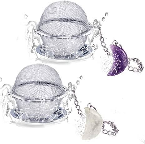 2pcs Tea Infuser Amethyst /& White Crystal Moon Pendant Tea Ball Tea Filter with Extended Chain Hook for Brew Fine Loose Tea and Spices /& Seasonings Scdom Stainless Steel Ball Mesh Tea Strainer