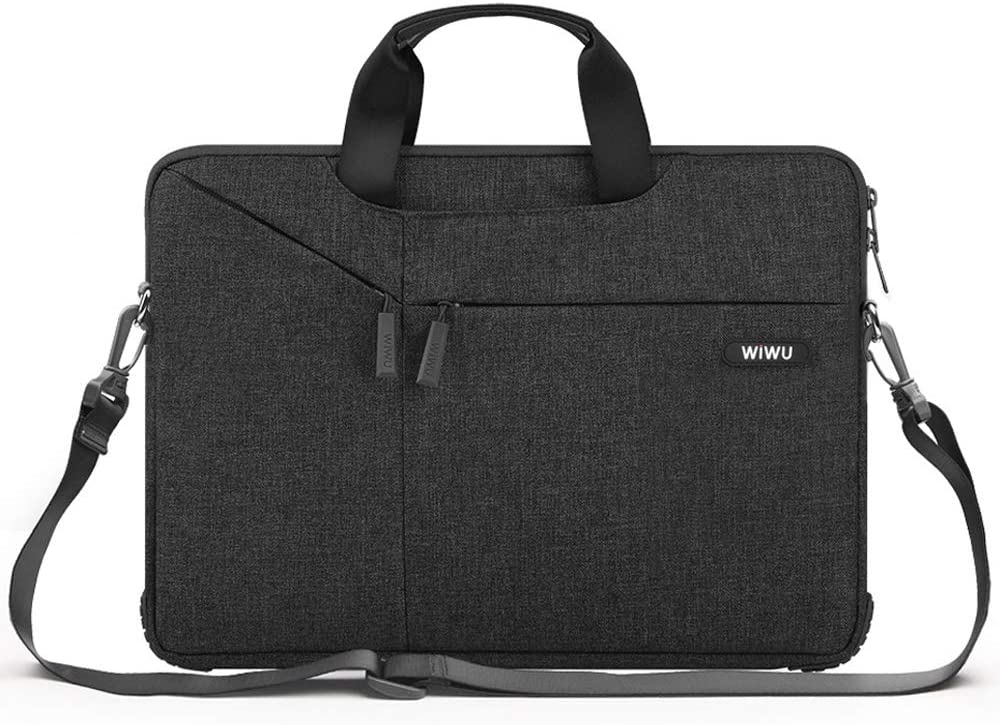 WIWU Upgrade Laptop Bag 13-13.3 Inch,Bottom Thickening Laptop Shoulder Bag,laptop Carrying Case Compatible MacBook Pro, MacBook Air,Surface Book,Dell,HP,Lenovo,Notebook Computer(Black)