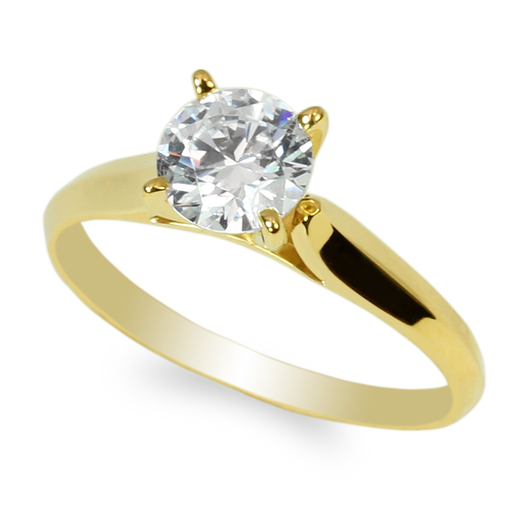 JamesJenny 14K Yellow Gold 1.0ct Round CZ Classic Solid Engagement & Wedding Solitaire Ring Size 6 by JamesJenny