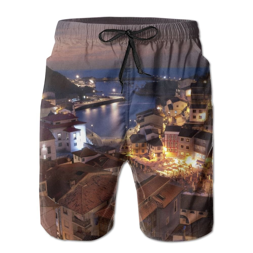 Sssssddd Architecture City House Sea Mountain Mens Tie Tropical Quick Drying Shorts Swimming Volleyball Beach Trousers