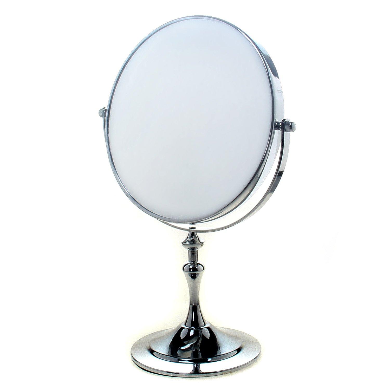 TUKA Specchio Bagno per Trucco 5X Ingranditori, 8 Doppio Specchio Cosmetico Con Piedistallo, ø 20 cm Specchio da Tavolo per Trucco e Rasatura, 2 Facciate Vanity Mirror, Cromato, TKD3105-5x TUKAI