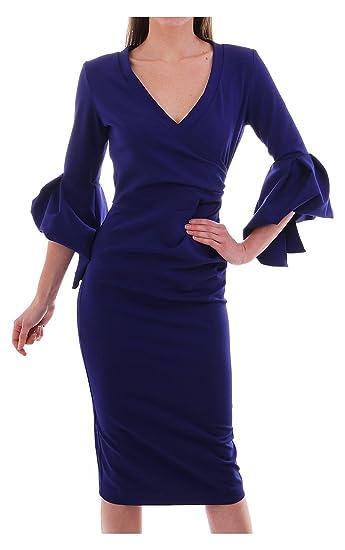 8f0ee9f70a Kevan Jon Ceiba Wrap Knee Dress in Delauney Scuba Colbalt  Amazon.co.uk   Clothing