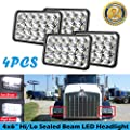 4PCS 4x6 Inch LED Headlight Assembly Rectangular Sealed Hi/Lo Beam 180W 6000K White for Kenworth T800 2000 2001 2002 2003 - H4 Plug Replace H4651 H4642 H4652 H4656 H4666 H4668 H6545 (2 Year Warranty)