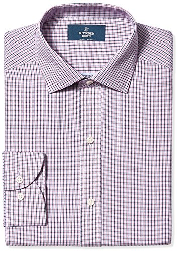 BUTTONED DOWN Men's Slim Fit Spread-Collar Non-Iron Dress Shirt, Berry/Red/Navy Tatersol, 15.5