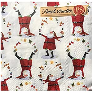 Punch Studio Set of 40 Cocktail Beverage Napkins ~ Juggling Santas 13232