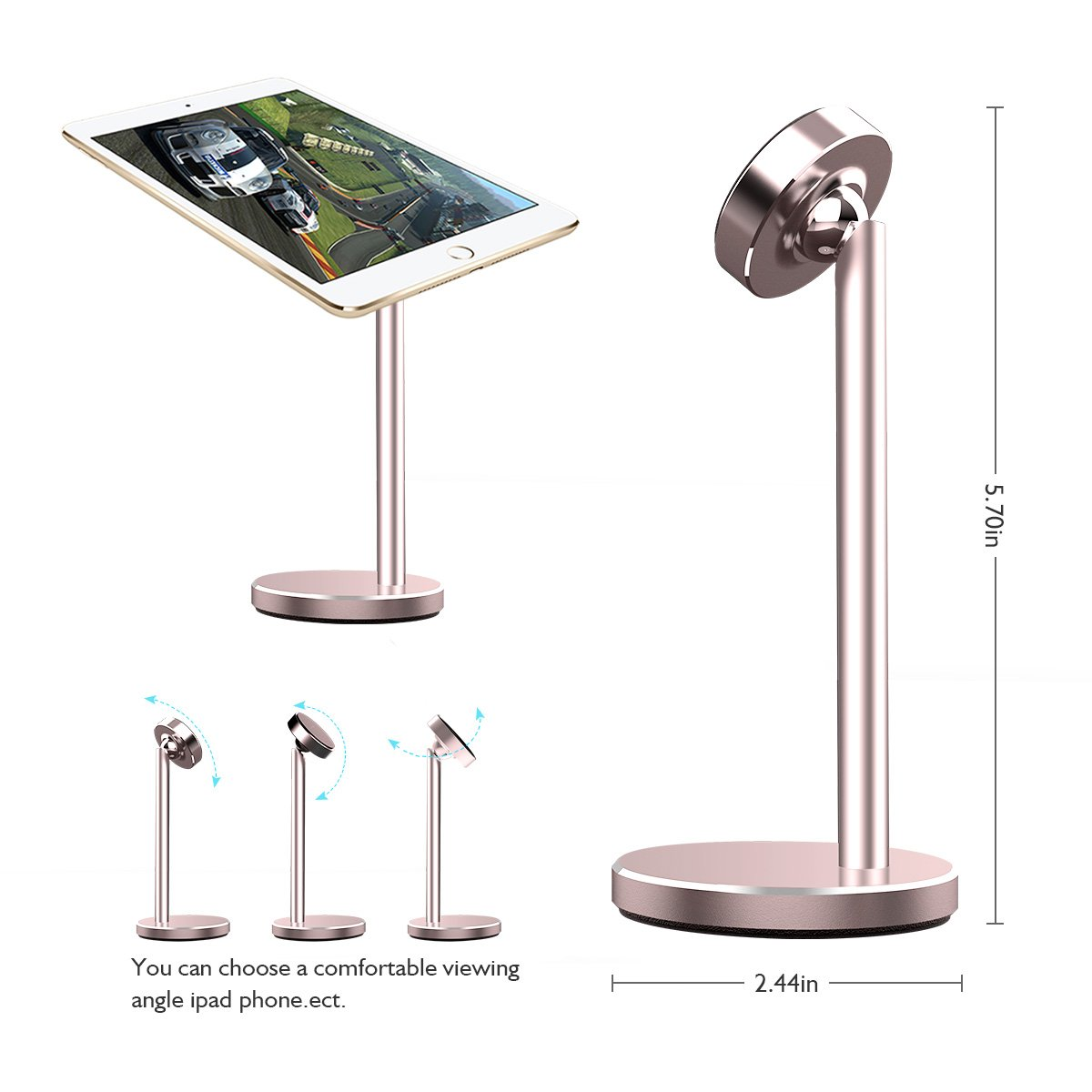 Licheers Magnetic Desktop Phone Stand, 360° Rotation Magnetic Tablet Mount Holder for Universal iPhone iPad, Samsung Galaxy Note, Face time Call and Watching Videos With Hands free (Silver)