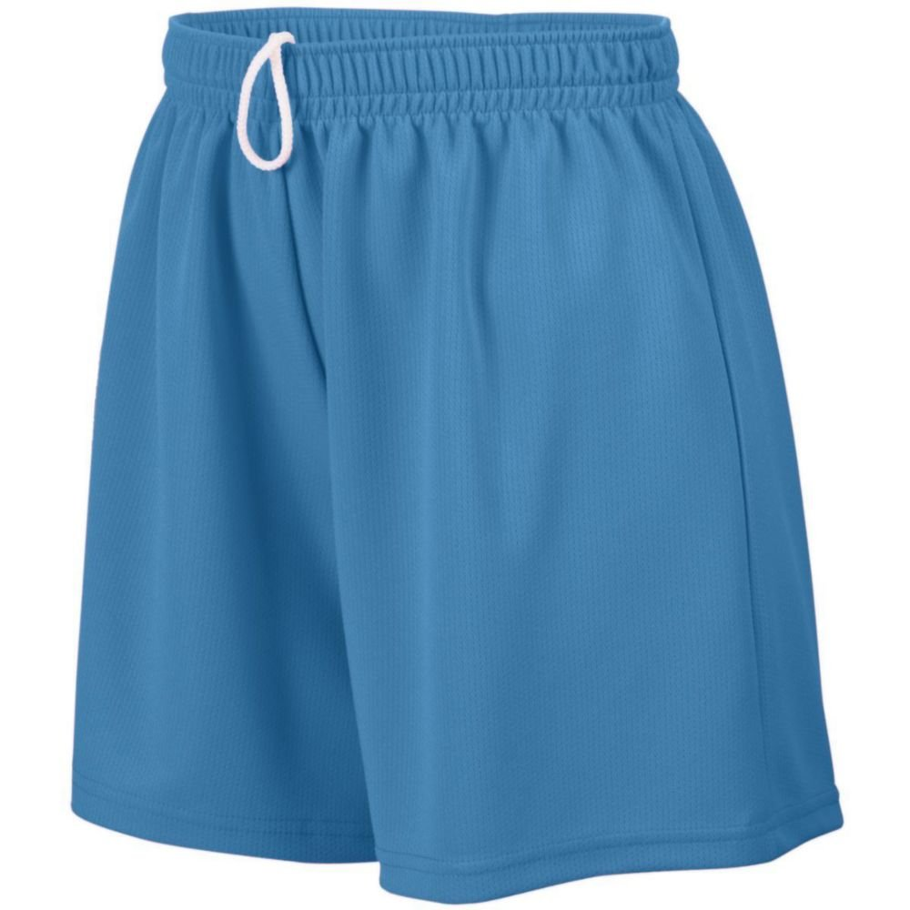 Augusta Athletic Girls Wicking Mesh Short, Columbia Blue, Small