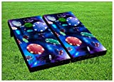 CORNHOLE BEANBAG TOSS GAME w Bags Game Boards Poker Chips Casino Blue Set 968
