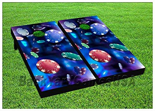 CORNHOLE BEANBAG TOSS GAME w Bags Game Boards Poker Chips Casino Blue Set 968 by BackYardGamesUSA