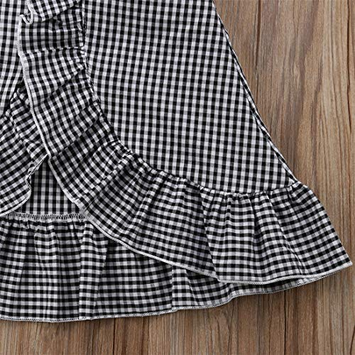 Baby Girl Toddler 2/3 Sleeve Black Crop Top + Grey Shorts Bowknot Skirts Outfit Clothes 2Pcs/ Set (Plaid, 6-12 Months) by Mornbaby (Image #4)