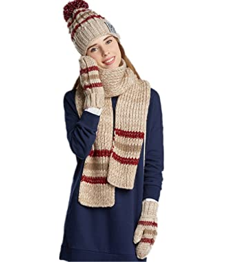Women Fashion Hat gloves scarf set Winter Warm Knitted Scarf and Hat Set  Skullcaps (apricot 3d6b3fd0034
