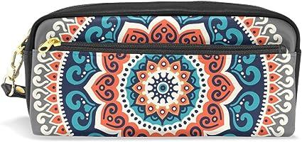 TIZORAX - Estuche de piel sintética para lápices de estilo étnico Hippie Henna Mandala: Amazon.es: Oficina y papelería
