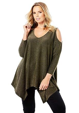 899c91e4cf426e Roamans Women s Plus Size Cold-Shoulder Super Tunic at Amazon Women s  Clothing store