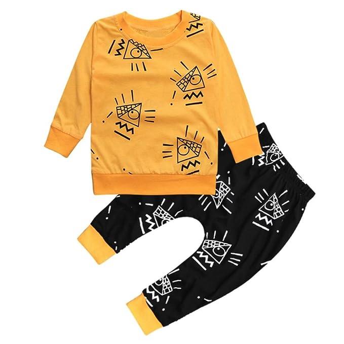 Ropa Bebe otoño-invierno,SMARTLADY Recién nacido Niño Casual Amarillo Camisas de manga larga