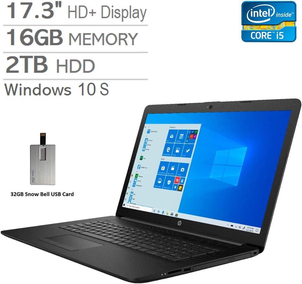 """2020 HP Pavilion 17.3"""" HD+ Laptop Computer, Intel Core i5-8265U Processor, 16GB RAM, 2TB HDD, Intel UHD Graphics 620, DVD-RW, HDMI, Webcam, Win 10 S, Black, 32GB Snow Bell USB Card"""