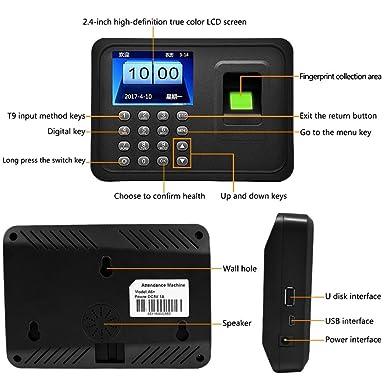 LIBO Máquina de Asistencia Biométrica de Huellas Dactilares Huella dactilar Hora Reloj Sistema, 2.4 pulgadas Pantalla, Soporte USB Record, 600 Capacidad de ...