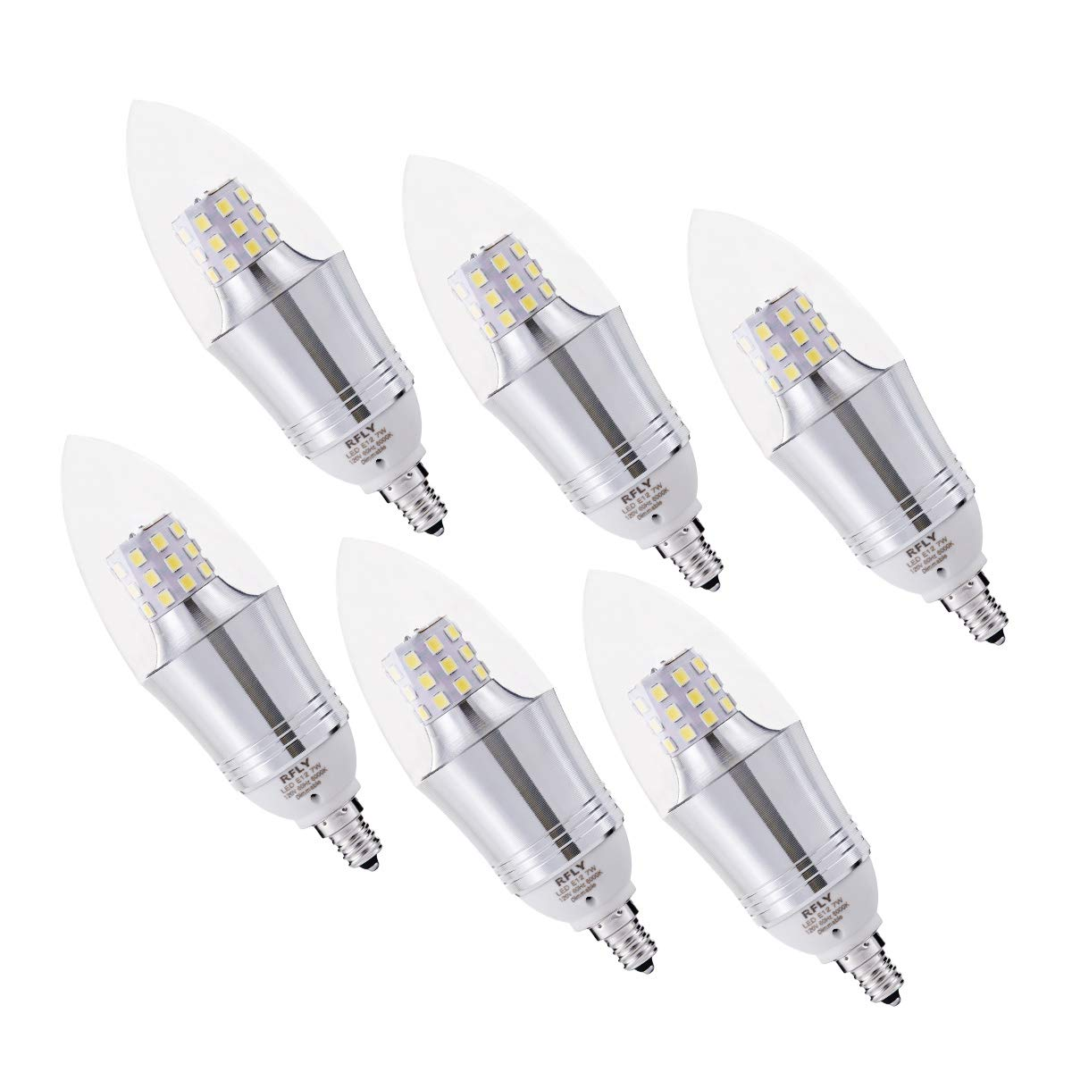 RFLY 7W E12 Bulb, LED Candelabra Light Bulbs 60-75W Incandescent Equivalent, Decorate Candle Base E12 Dimmable, Chandelier Bulb, Daylight White 6000K, 6 Packs