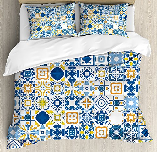 Ambesonne Yellow and Blue Duvet Cover Set Queen Size, Mosaic Portuguese Azulejo Mediterranean Arabesque Effect, Decorative 3 Piece Bedding Set with 2 Pillow Shams, Violet Blue Mustard (Mediterranean Blue Mosaic)
