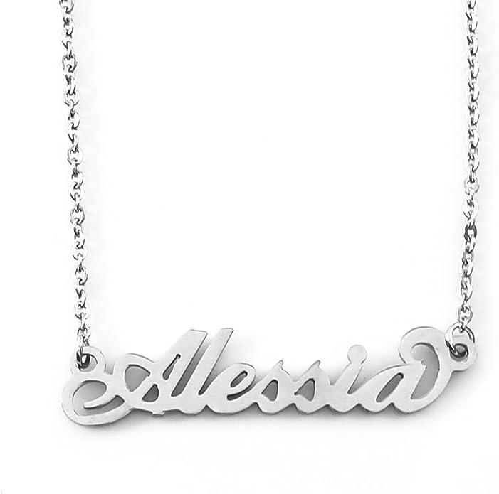 Zacria Italic Name Necklace Flavia Silver Tone