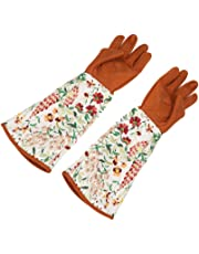 1 Pair of Long Sleeve Leather Gardening Gloves Puncture Resistant Hands Protector for Garden Yard Pruning Trimming Use, Welding,BBQ