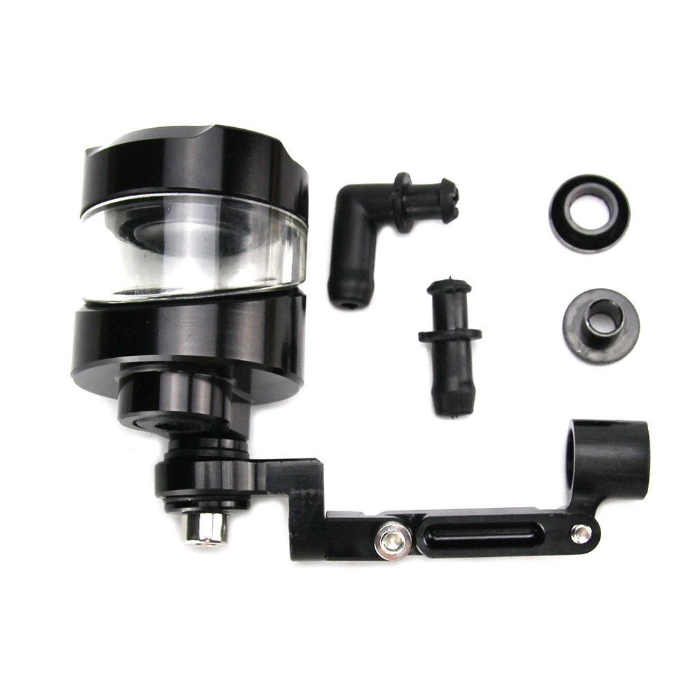 CNC Aluminum Universal Billet Front Brake Clutch Tank Motorcycle Fluid Reservoir Oil Cup for Yamaha Honda Suzuki Color : Black