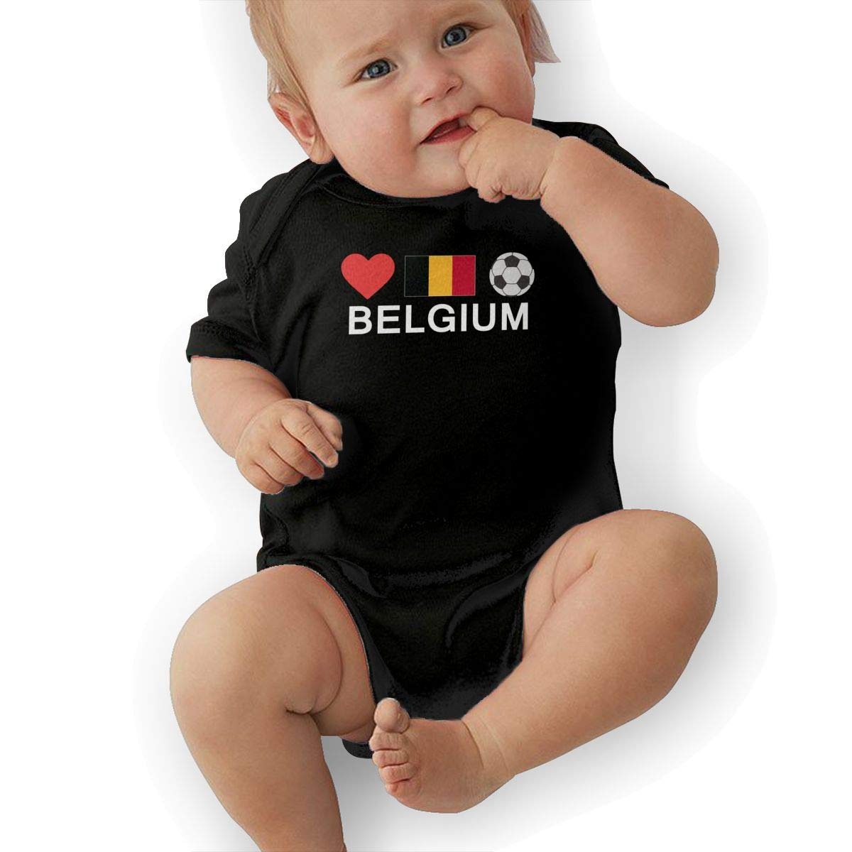 U88oi-8 Short Sleeve Cotton Rompers for Baby Girls Boys Soft Belgium Football Belgium Soccer Playsuit