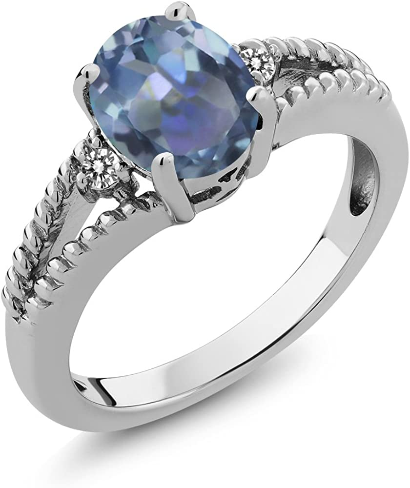 1.85 Ct Oval Cassiopeia Mystic Topaz White Topaz 925 Sterling Silver Ring