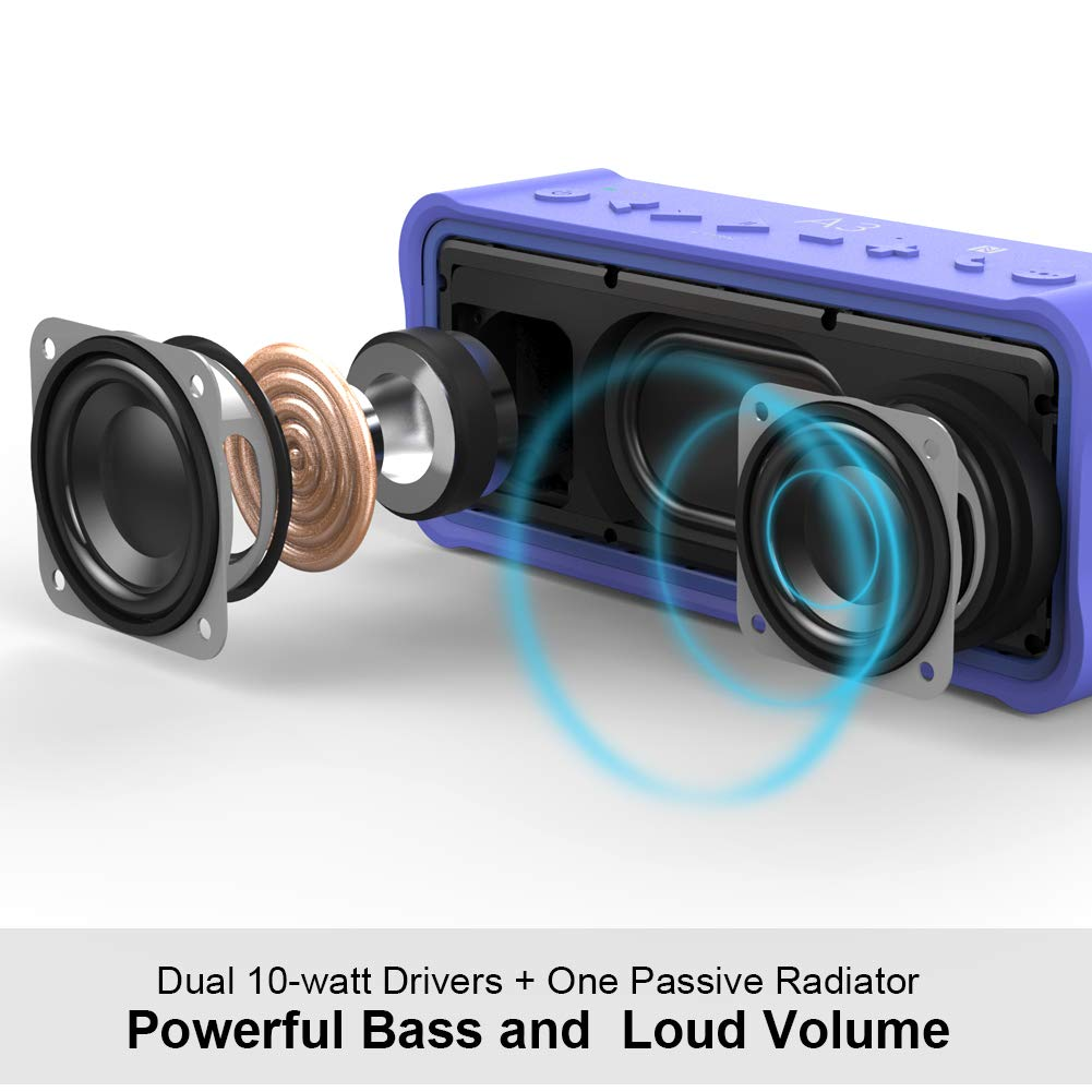Douni A3 Portable Wireless Outdoor Bluetooth Waterproof Speaker IPX7 Water Resistant Dustproof 20W Shower Speaker,Built-in Mic,DSP Enhanced Bass,TF Card,NFC Long Playing Time Blue