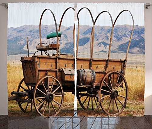 Ambesonne Western Decor Curtains, Photo of Old Nostalgic Aged Wild West American Cart Carriage in The Farm Texas Style, 2 Panels Set for Living Room Bedroom, 108 W X 90 L Inches, Brown and Caramel ()