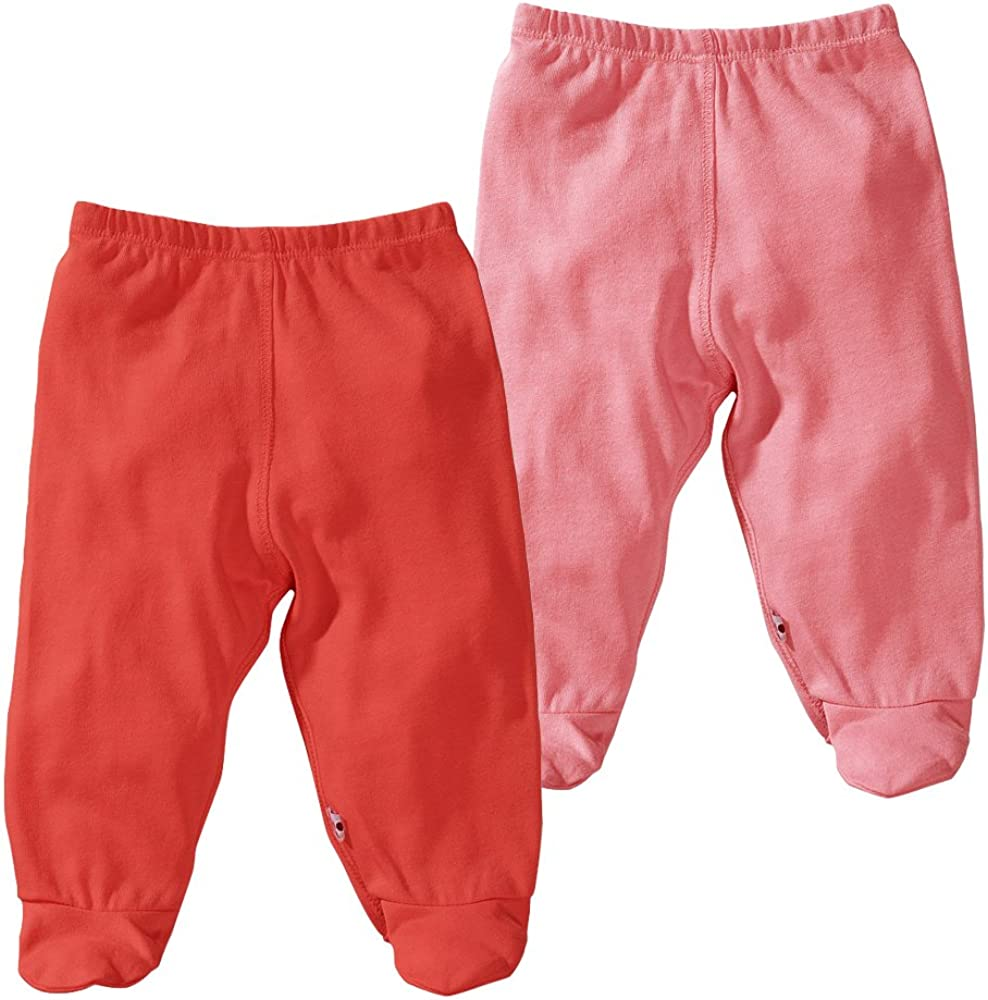 Babysoy Eco Footie Pants Unisex Pack of 2 6-12 Months, Tangerine + Sunshine