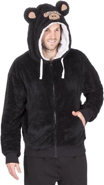 Herren Fleece Lounge Pyjama Schlafanzug Top DICK VLIES Tier mit Kapuze Scharz Bär Order Grau Wolf Größe SML XL