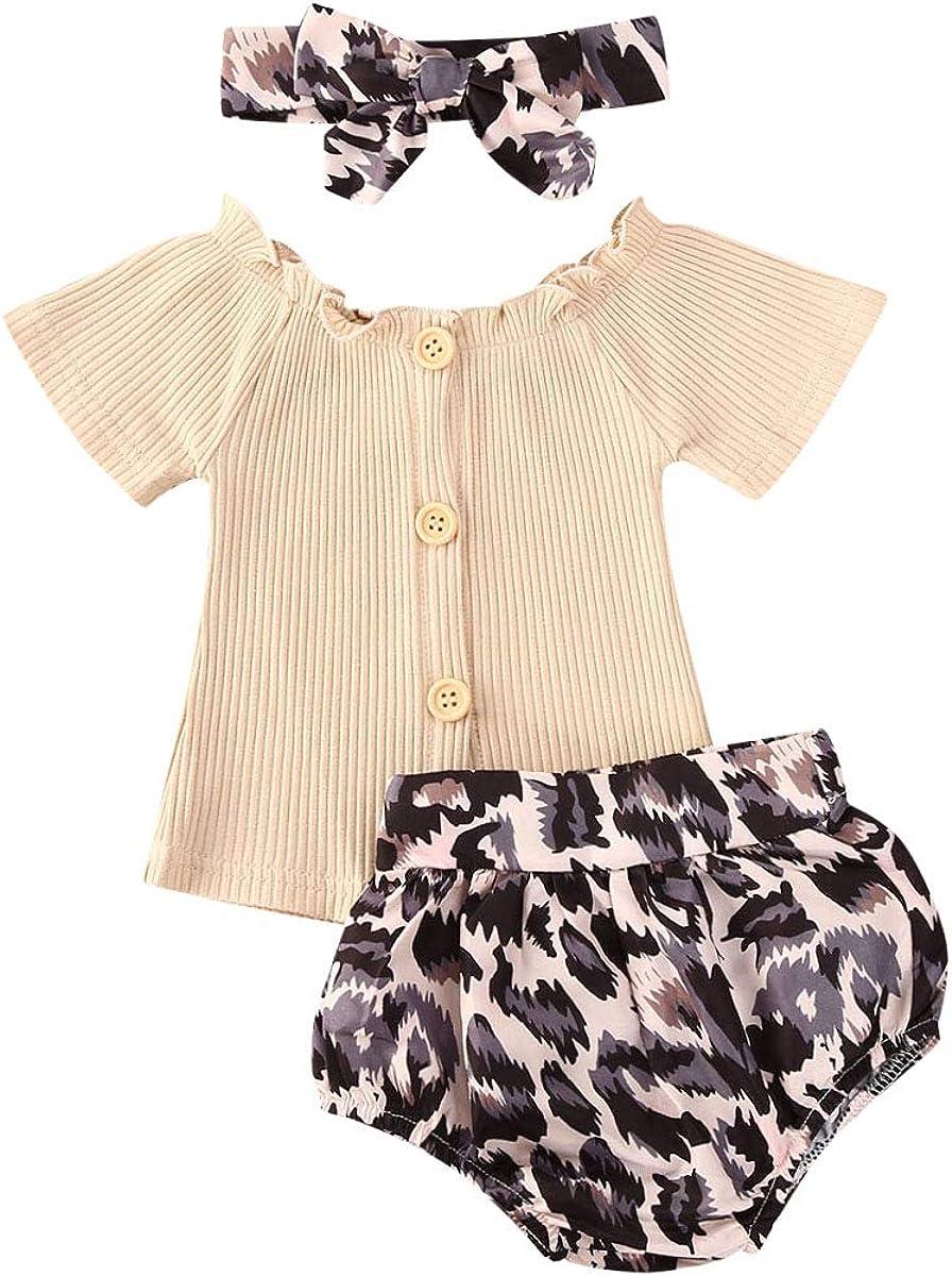 Pantaloncini Stampa Leopardata+Facia Carolilly 3 PCS Completo Bambina Tuta Neonata Estivo Maglietta a Manica Corta
